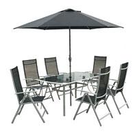 Kovový zahradní nábytek VeGAS 6 - AL stolová sestava se slunečníkem