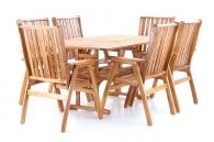 Dřevěný zahradní nábytek ROUNDED SET 6 stolová sestava