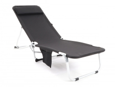 BEACH luxusní relaxační plážové hliníkové polohovací lehátko - černé