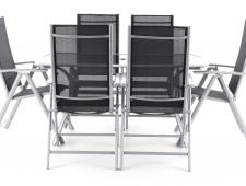 Kovový zahradní nábytek VeGAS 6 - stolová sestava se slunečníkem