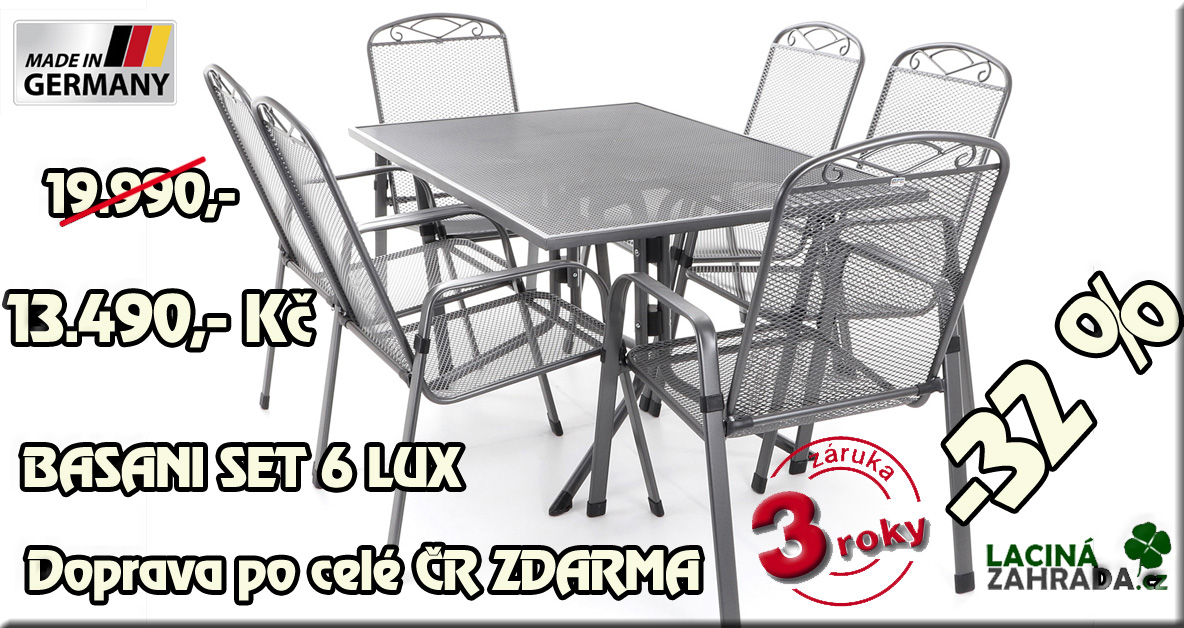Luxusní stolová sestava BASANI SET 6 LUX německého výrobce tahokovu nyní v akci nyní za 9.990,-Kč.