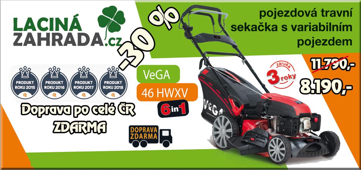 Travní pojezdová sekačka VeGA 46 HWXV 6in1 v akci nyní za 6.490,-Kč s dopravou zdarma.
