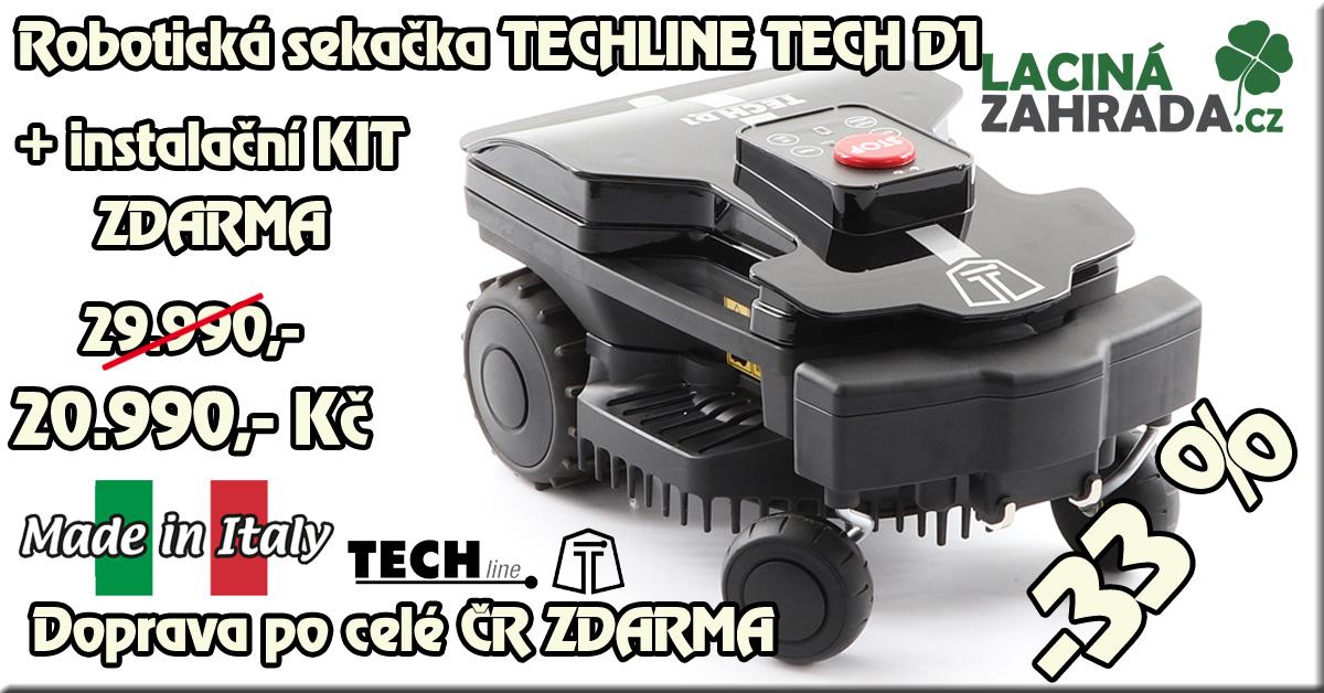 Robotická sekačka TECHline TECH D1 v akci nyní za 19.990,-Kč včetně instalačního KITU  ZDARMA.