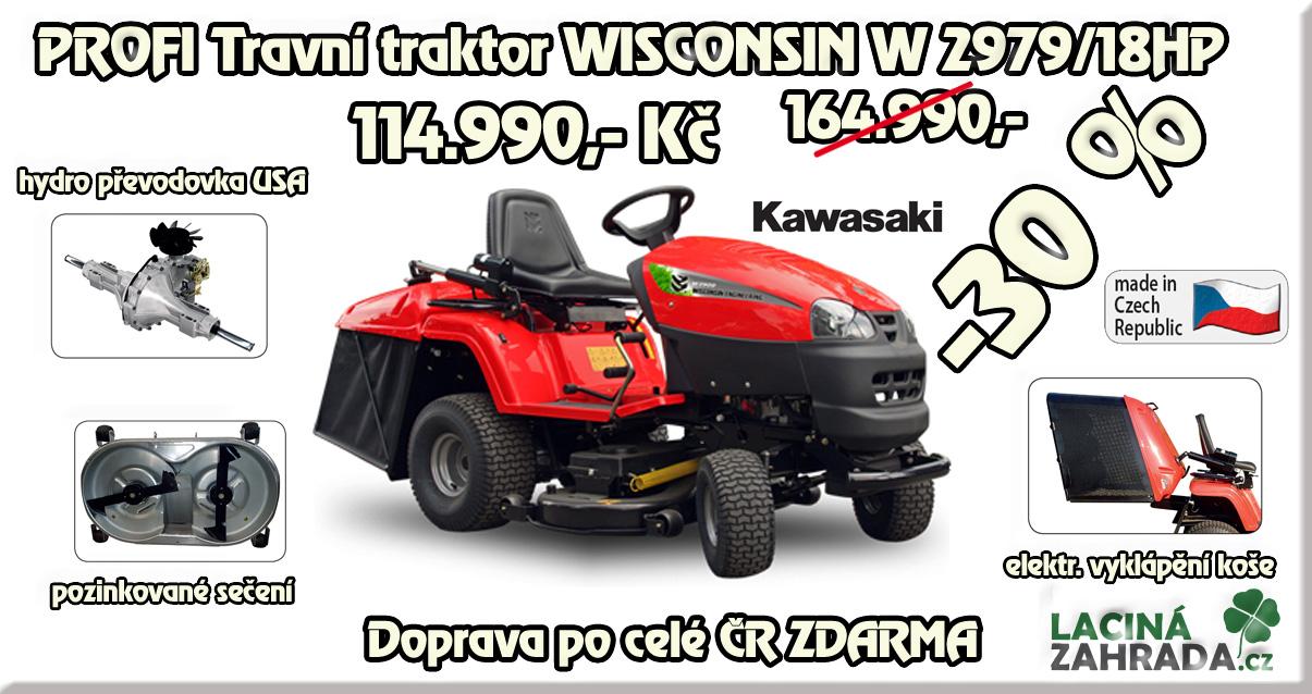 PROFI travní traktor WISCONSIN W2979/102 18 akci nyní za 114.990,-Kč s dopravou zdarma. Výrobeno v ČR.